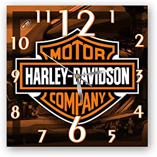 Gift Shop Exclusive Wall Clock Harley-Davidson 11 Inch – Unique Item for Home and Office, Original Present for Every Occasion. Handmade. Plastic (Acrylic Glass)