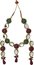 Faux Ruby and Emerald Set with Kundan earring-and-endant-set - Copper Alloy
