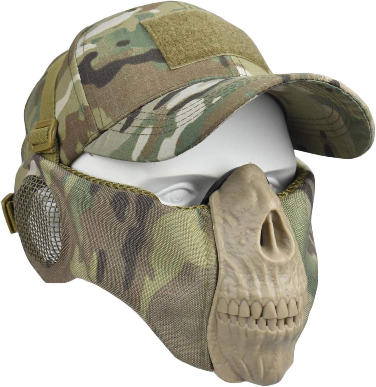 WLXW Airsoft Masks -Máscara de Calavera de Media Cara con Protección para Los Oídos Y Gorra de Béisbol Ajustable para Airsoft/Paintball/BB Gun/CS Game/Hunting/Shooting