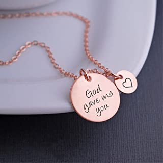 Rose Gold God Gave Me You Necklace with Heart Charm, Christmas Gift for Mom