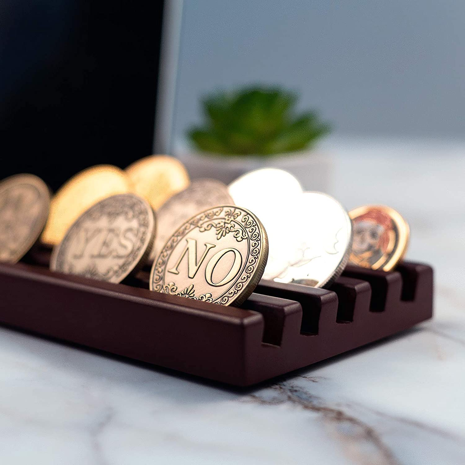 Wood Rack for US Army Military Collectible Coins Baby Noah 5 Rows Challenge Coin Display Holder Holds 15-20 Coins Military Coin Display Stand Case