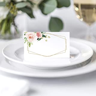 Bliss Collections Floral Place Cards for Wedding or Party, Seating Place Cards for Tables, Scored for Easy Folding, Blush, Coral and Greenery Geometric Flower Design, 50 Pack 2 x 3.5 Inches