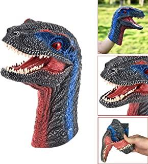 Pausseo Dinosaur Hand Puppet Rubber Dino Raptor Head Toy Party Christmas Decor Gifts Hand Puppet Vinyl Glue Toys Small Puppet Baby and Kids Plush Toy Soft Rubber Realistic Dolls