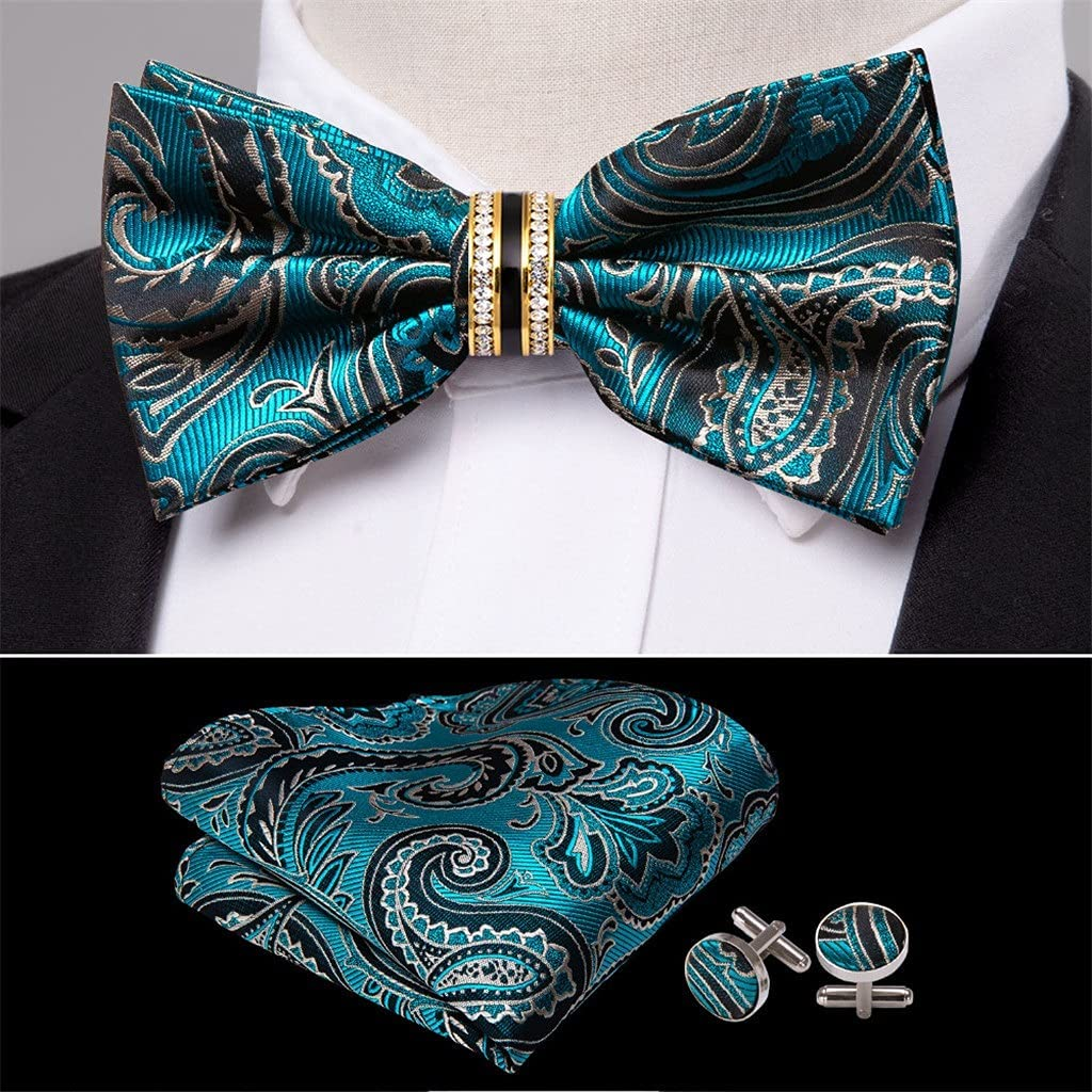 CDQYA Blue Special Campaign Teal Bow Tie For Accessorie Wedding Bu New product Adjustable Men