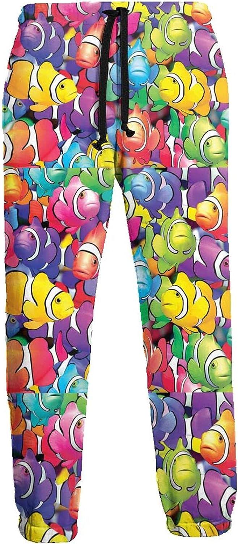 KAWAHATA Colorful Goldfish Men's Pants with Pockets Tapered Athletic Sweatpants 3D Casual Active Sports Pants