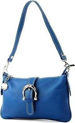 modamoda de - T05 - ital Citytasche Umhängetasche Klein aus Leder, Farbe:Blau