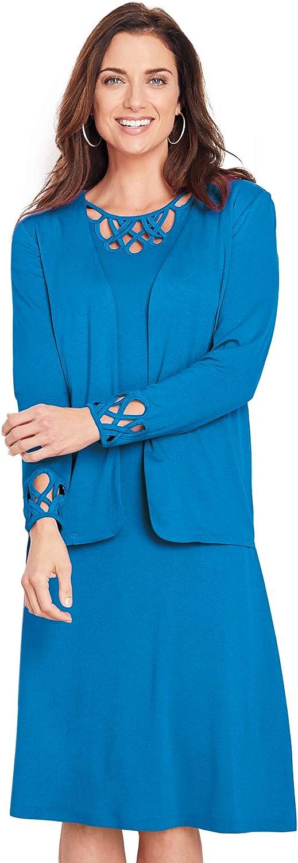 AmeriMark Women's Cutwork Open Front Jacket Blazer and Knee Length Dress Set
