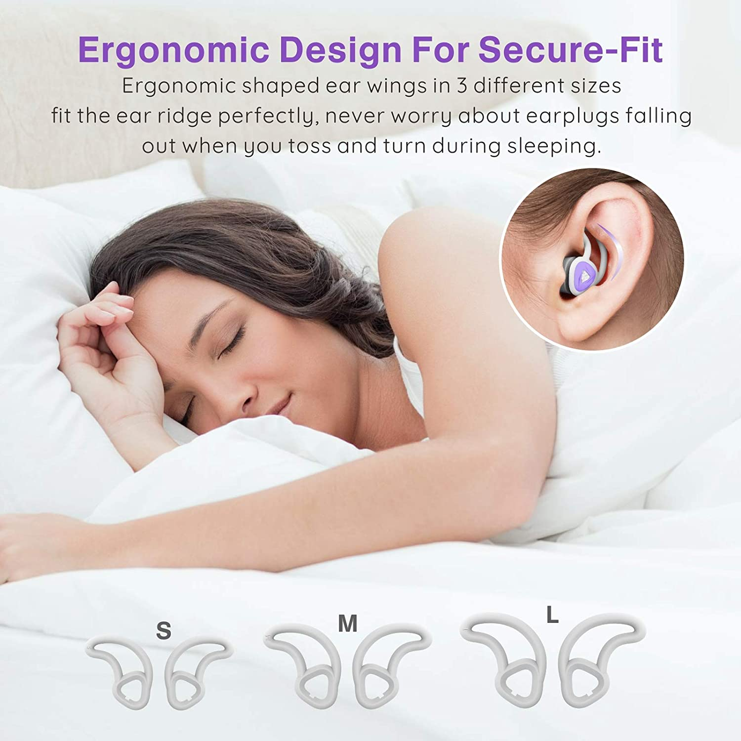 Purple Ear Plugs for Sleeping Sound Blocking snoring Hearprotek Upgraded Foam Tips Sleep earplugs with Interchangeable Silicone Tips Ear Plug for Noise Reduction Study and Work