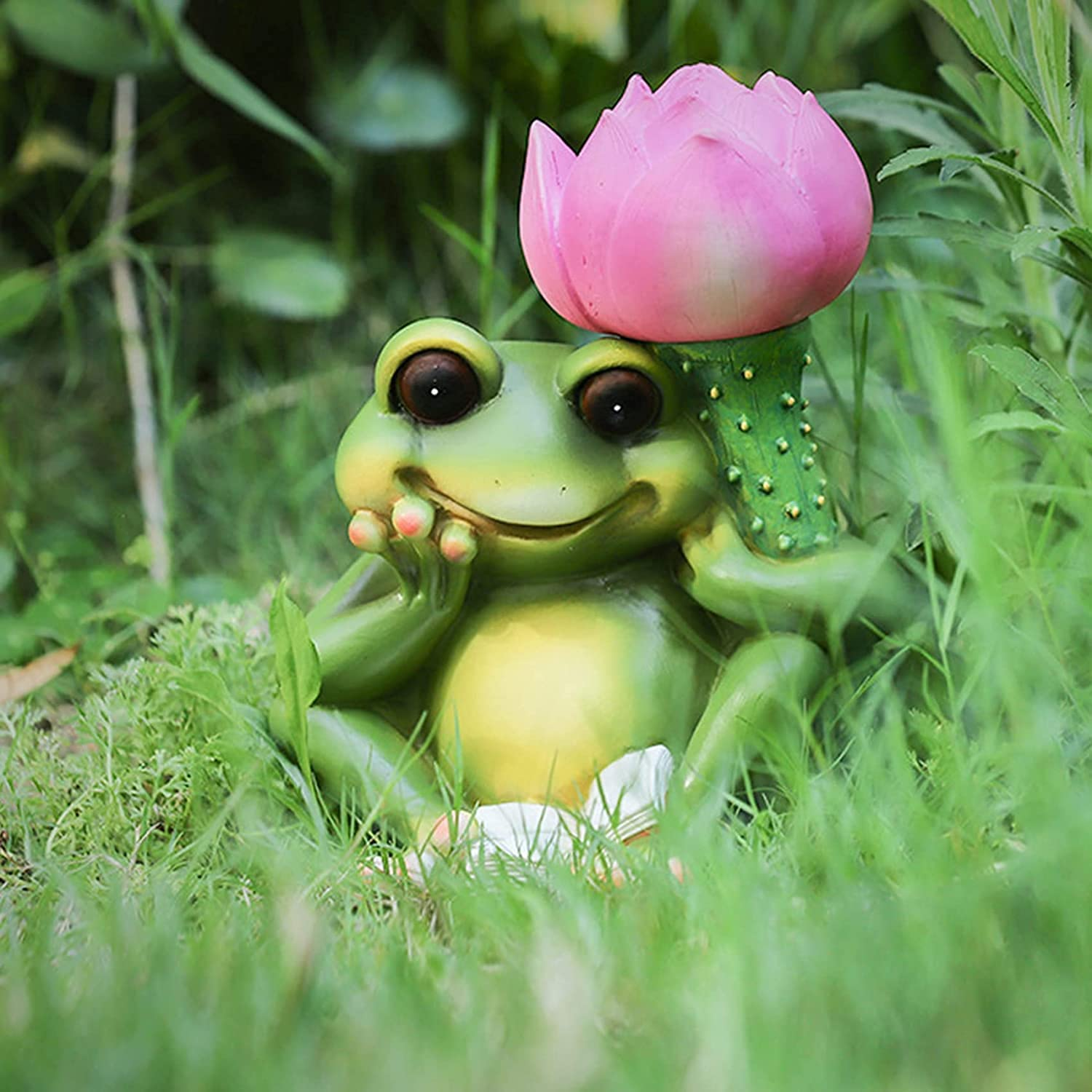NEW before selling Chanety Garden Product Frog Statue Figurine Resin Solar Ornament