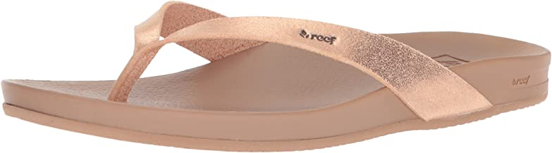 REEF Women's Sandals Cushion Bounce Court | Leather Flip Flops for Women with Cushion Bounce Footbed