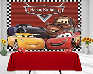 RUINI Car Racing Themed Backdrop Cartoon Cars Mobilization Birthday Party Decor Banner 5x3FT