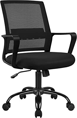 Furmax Office Ergonomic Mesh Desk Modern Mid Back Task Home Chair with Lumber Support and armrest,Black