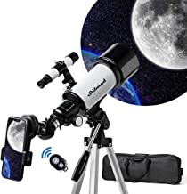Telescope 70mm Aperture 500mm AZ Mount, Astronomical Refractor Telescope Aperture for Kids Adults & Beginners, Fully Multi-Coated Optics,Portable Refractor with Tripod, Phone Adapter