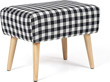 Homebeez Ottoman Bench Foot Rest Stool Rectangule Coffee Table (Black/White Plaid)