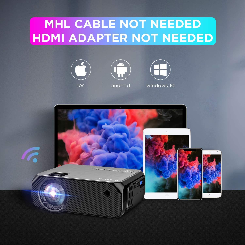 Proyector WiFi, BOMAKER Proyectores Exterior Portátil 6000 Lúmenes Resolución Nativa 720P, Inalámbrico Mini Cine en Casa, Soporte Full HD 1080P, Zoom X/Y, 300