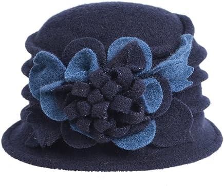 VECRY Women's Wool Dress Church Cloche Hat Bucket Winter Floral Hat
