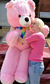 All USA t-shirts American Made Giant Pink Teddy Bear 6 Foot Soft Huge Plush Animal Made in the USA America