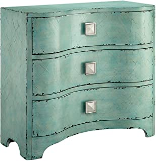 Madison Park Fulton Accent Chest - Wood Living Room 3-Drawer Storage Unit - Cracked Antique Blue Teal, Antique Rustic Style Floor Cabinet