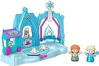 Fisher-Price Disney Frozen Arendelle Winter Wonderland by Little People, juego de patinaje sobre hielo con figuras Anna y Elsa para niños pequeños y preescolares