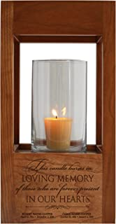 """LifeSong Milestones Personalized Funeral Keepsake Cremation Urn for Human Ashes Memorial Lantern - Sympathy Solid Cherry Wooden Candle Holder - 6.5"""" x 6.5"""" x 13"""" (Those Who We)"""