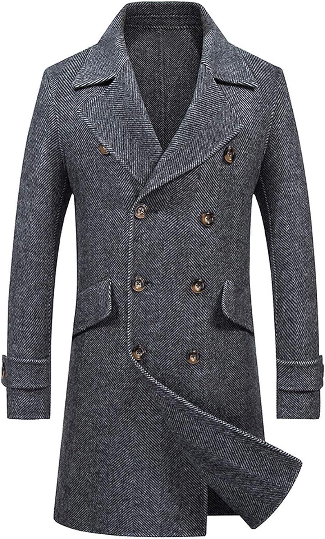 Newdeve Men's Pea Coat Double Breasted Wool Trench Fleece Outwear Jacket