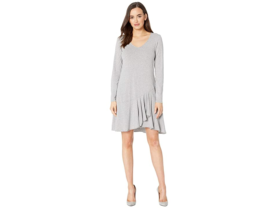 Mod-o-doc Cotton Modal Spandex Jersey Long Sleeve V-Neck Dress with Asymmetrical Flounce (Smoke Heather) Women