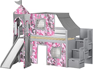 JACKPOT! Princess Low Loft Stairway Bed with Slide Pink Camo Tent and Tower, Loft Bed, Twin, Gray