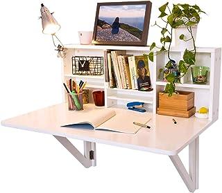 SoBuy FWT07-W Table murale rabattable avec Etagére intégrée, Armoire murale, Table cuisine pliable, Table de repas (Blanc)