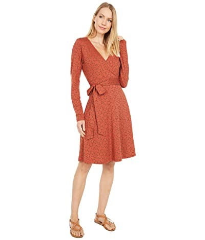Toad&Co Cue Wrap Long Sleeve Dress (Auburn Daisy Chain Print) Women