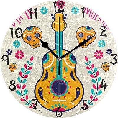 アートメキシコスカルギターラウンド ウォール クロック 円形 時計プレート サイレント ノンティック クロック キッチン ホーム デコレーション用