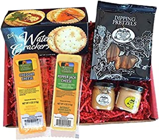 Specialty Gift Basket for Him- features 100% Wisconsin Cheese, Crackers, Pretzels, & Mustard. Best Christmas Gift for the ...