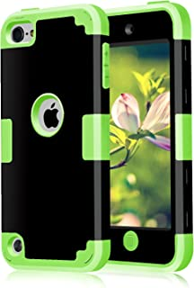 CheerShare iPod Touch 7 Case 2019 iPod Touch 7th 6th 5th Generation Case 3 in 1 Hard PC Case Silicone Shockproof Heavy Duty High Impact Armor Hard Case for Apple iPod Touch 6 Case (Black+Green)