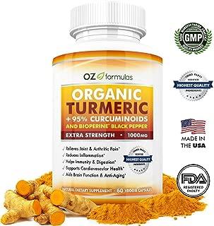 OZ Formulas Organic Turmeric, 95% Curcuminoids & BioPerine Black Pepper, Extra Strength 1000mg Serving, 120 Caps, All Natural, Multi-Purpose, Pain & Arthritic Relief, Joint Support, Anti-Inflammatory