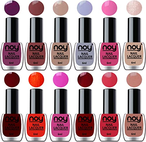 NOY® Quick Dry One Stroke Color Nail Paint Combo Offer Set of 12 in Wholesale Rate 6 ml each(Violet, Brown, Nude, Lig...