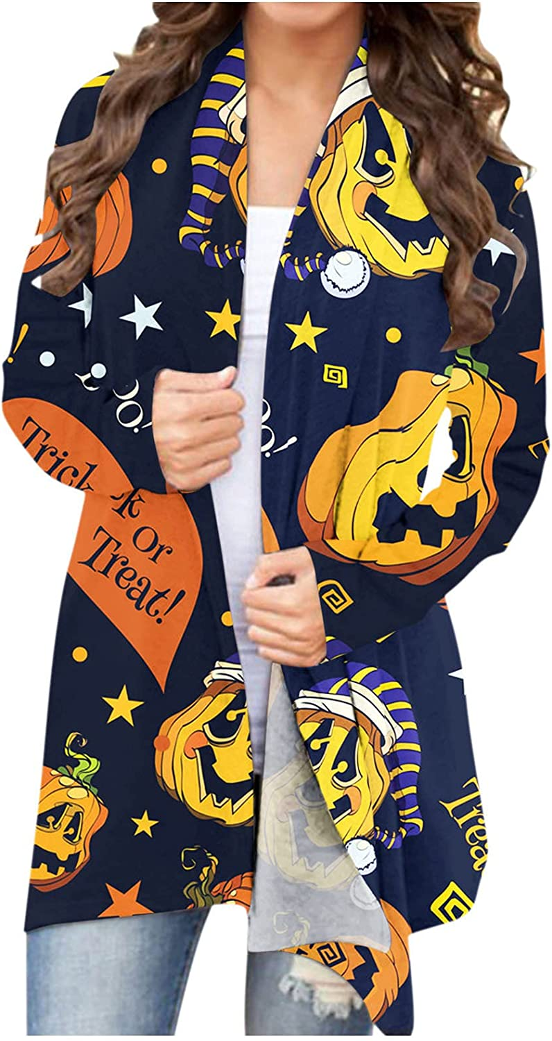 ORT Women's Halloween Long Sleeves Cardigan Funny Cat Pumpkin Printed Open Front Knit Sweaters Fashion Coat Outwear Blouses