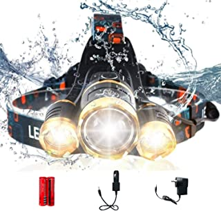AUSELECT Waterproof 3LED Headlamp 4 Modes 6000 Lumen Flashlight T6 Headlight Helmet Light for Hunting Camping Running Outd...