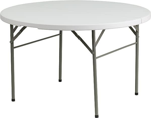 My Friendly Office MFO 48 Round Bi Fold Granite White Plastic Folding Table