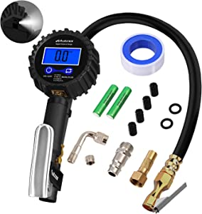 Autmor Digital Tire Pressure Gauge with Heavy Air Chuck Accessories  1 4 quot  NPT and 0 1 Display Resolution LCD for Car  Truck and Motorcycle