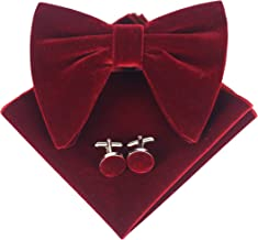 Levao Mens Velvet Bow Tie Vintage Tuxedo Big Bowtie & Cufflinks & Pocket Square Set