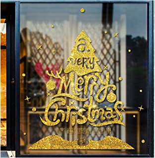 Evangelia.YM Christmas Window Wall Door Stickers Decals, 60X45cm Self-Adhesive Gold Powder Snowflake Xmas Trees Cute Deer Wallpaper Decors (A Trees)