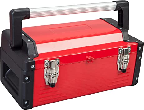 """Jack Boss Metal Tool Box Steel 16"""" Inch Tool Organizer Box Durable Portable Tool Storage with Alum Alloy Handle Double-Lock Toolbox & Removable Tray: image"""