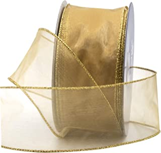 8f8940f81944e Gold Organza Wired Sheer Ribbon 2.75
