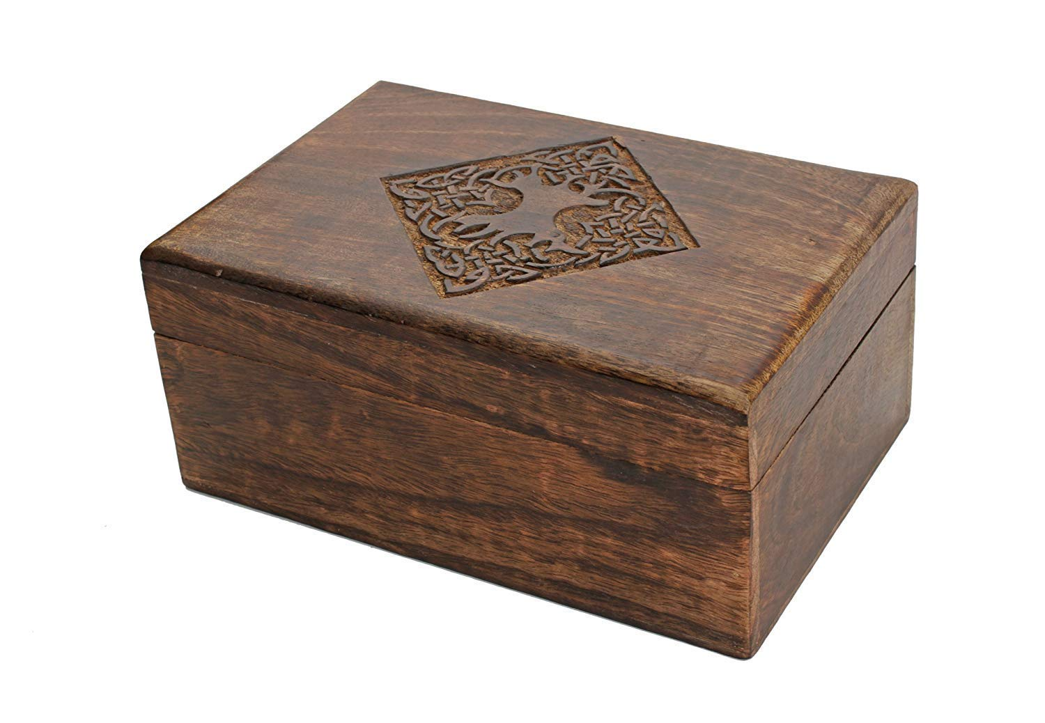 India Vintage Small Wooden Box Jewelry Trinket Hand Carved Wood