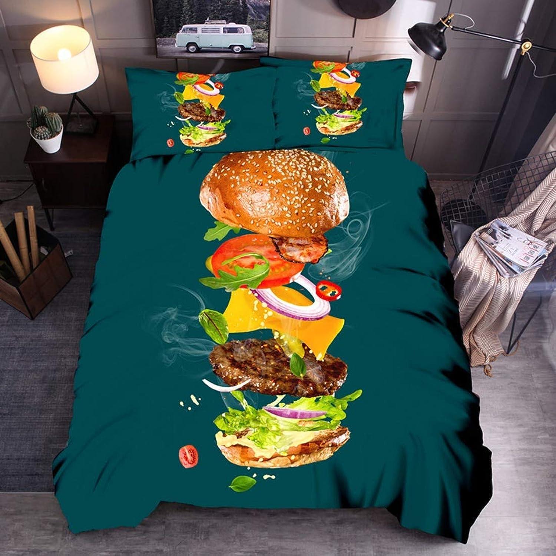 FOREVER Effet d'impression 3D Costume Couette Rouleau de Poulet Toile de Polyester Literie Inclut 1 Couette Couette et 2 Taies d'oreiller 3pcs Cadeaux Ados, Salade, 3PCS 228  228cm