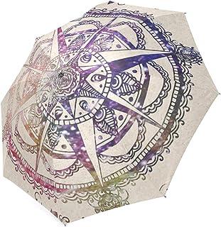 Beautytool Custom Blue Leaves Mandala Floding Travel Umbrella