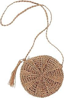 FZChenrry Stroh Umhängetasche Damen Sommer Strand Schultertaschen Handgemacht Gewebte Geldbörse mit Quaste