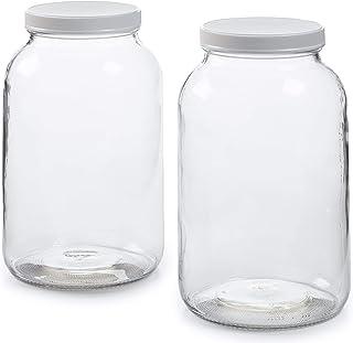 2 Pack - 1 Gallon Glass Jar w/Plastic Airtight Lid, Muslin Cloth, Rubber Band - Made in USA, Wide Mouth - BPA Free - Kombu...