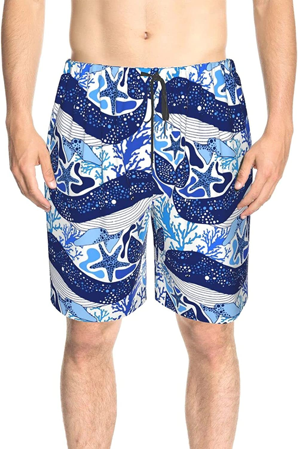 JINJUELS Men's Swim Trunks Whales Nautical Print Bathing Suit Boardshorts Quick Dry Cool Board Shorts Swimwear with Pockets