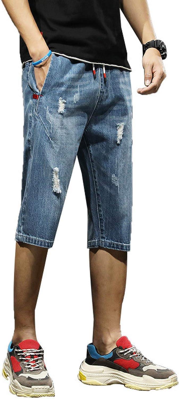 Beastle Men's Jeans Summer Trend Casual Seven-Point Denim Shorts Loose Straight-Leg