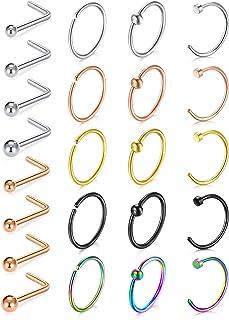 VFUN 18G Piercing Naso L-Shape Acciaio Inossidabile 1.5mm 2mm 2.5mm 3mm Piercing Naso Cerchio Gioielli per Il Corpo Donna Uomo
